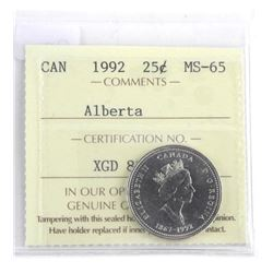 ALBERTA 25 Cent. MS-65. ICCS