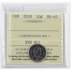 2018 Canada 10 Cent. MS65. ICCS