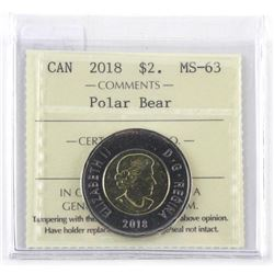 2018 Canada 2.00 MS63. 'Polar Bear' ICCS