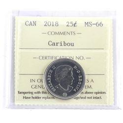 2018 Canada 25 Cent MS66. ICCS.