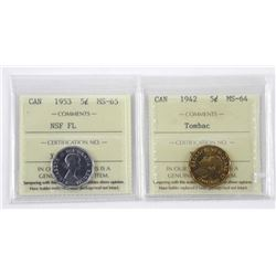 1953 Canada 5 Cents MS-65. ICCS. NSF-FL (ER)