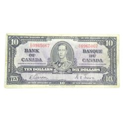 Bank of Canada 1937 - Ten Dollar Note. G/T