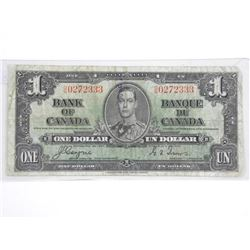 Bank of Canada 1937 One Dollar Note. C/T