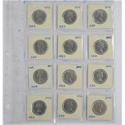 Lot (12) Canada Silver 50 Cent '1963' UNC