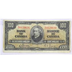 Bank of Canada 1937 - One Hundred Dollar Note. G/T