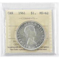 1961 Canada Silver Dollar MS-62. ICCS