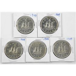 Lot(5) 1949 Canada Silver Dollars (SME)