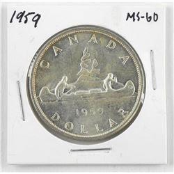 1959 Canada Silver Dollar MS60.