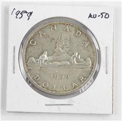 1959 Canada Silver Dollar. AU-50