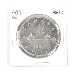 1952 Canada Silver Dollar. AU-50. Waterline