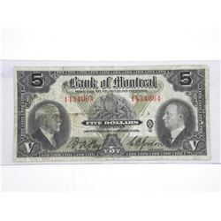 Bank of Montreal - Jan 1935 Five Dollar Note.