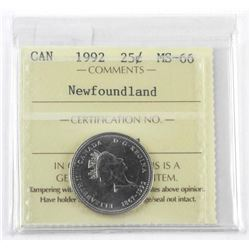 1992 Canada 25 Cent NFLD MS-66 (CR)