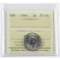 1940 Canada 5 Cents MS-64. ICCS (SER)