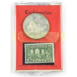 1867-1967 Silver Dollar and Stamp