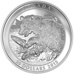 2015 $20 Grizzly Bear: The Catch - Pure Silver Coi