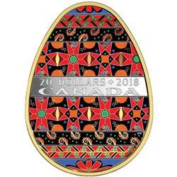2018 $20 Golden Spring Pysanka - Pure Silver Coin
