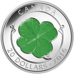 2016 $20 Four Leaf Clover - Pure Silver Coin