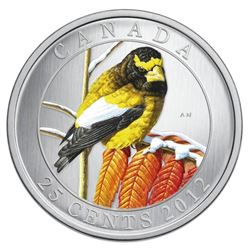 2012 25c Birds of Canada: Evening Grosbeak - Colou