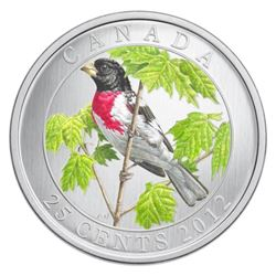 25c 2012 Rose-Breasted Grosbeak - Coloured Coin