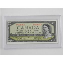 Bank of Canada 1954 Twenty Dollar Note. BC AU-55 (