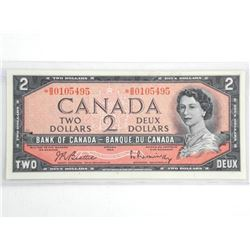 Bank of Canada 1954 Two Dollar Modified Portrait.