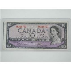 Bank of Canada 1954 Ten Dollar Note. Cutting Error