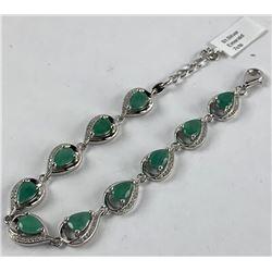 925 Silver Bracelet w/7cts Genuine Pear Shape Emer