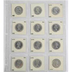 Lot (12) Silver 50c - Most BU-UNC.