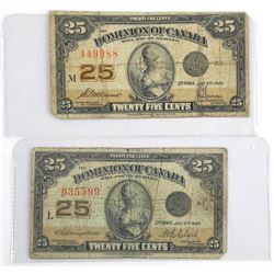 Lot (2) Dominion of Canada 25 Cent Notes