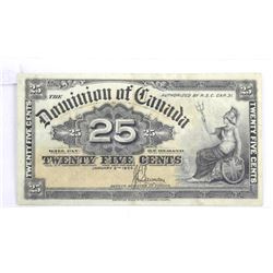 Dominion of Canada Twenty Five Cent Note. 1990 'Sa