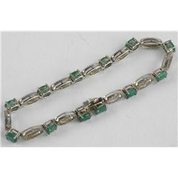 Estate Emerald and Diamond Custom Bracelet