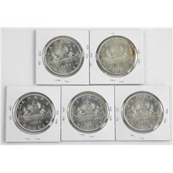 Lot (5) 1966 CAD Silver DollarÂ
