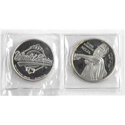 Lot (2) 999 Fine Pure Silver Coins, Nolan Ryan. Wo