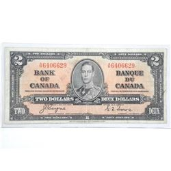 Bank of Canada 1937 Two Dollar Note (F) BC 22c