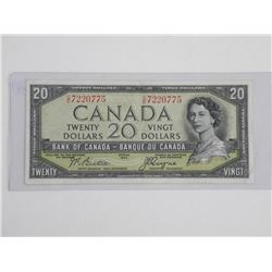 Bank of Canada 1954 20.00 Modified Portrait. VG+