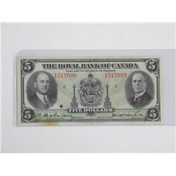 Royal Bank of Canada 1935 5.00 (AU) Large Signatur