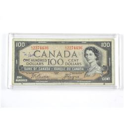 Bank of Canada 1954 $100 Devils Face. B/C.