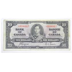 Bank of Canada 1937 Ten Dollar Note (VG) BC 24c
