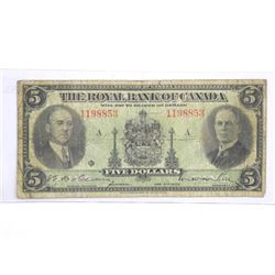 Royal Bank of Canada Jan 1935 $5.00.