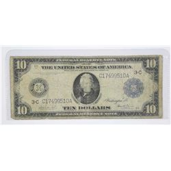 USA 1914 Ten Dollar Black and Blue Seal. Large For