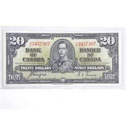 Bank of Canada 1937 Twenty Dollar Note (VF) BC 25c