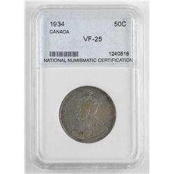 1934 Canada 50 Cent VF-25. NNC