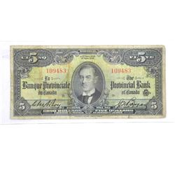 The Provincial Bank Sept 1936 $5.00 ENG/FRENCH.