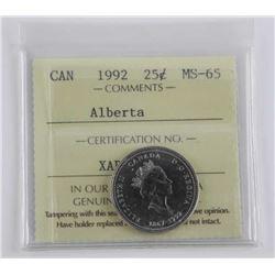 Canada 1992 - 25 Cent MS-65 ICCS - 'Alberta'.