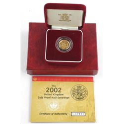2002 UK Gold Proof Half Sovereign Coin with C.O.A