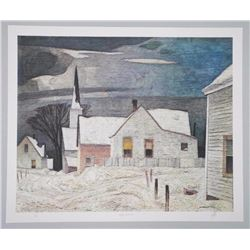 A.J. Casson (1898-1992) Litho 'Village in the Wint