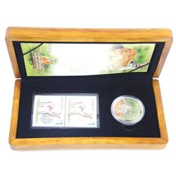 LE Stamp and Coin Set 'Deer and Fawn' .9999 Fine S
