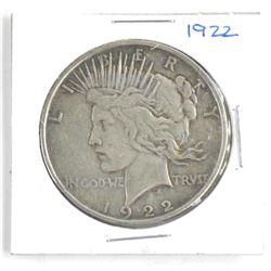 1922 Silver US Peace Dollar.