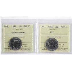 Lot (2) Canada 25c - MS65 ICCS - PEI and Newfoundl