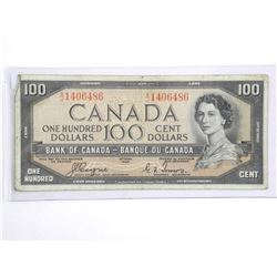 Bank of Canada $100.00 Devil's Face B/C.